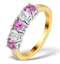 Pink Sapphire and Diamond Eternity Ring 18k Yellow Gold Anniversary Certificate