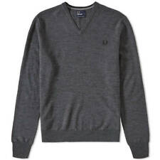 FRED PERRY MERINO WOOL V NECK JUMPER IN GREY