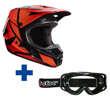 FOX V1 Carrera casco MX 2017 Naranja + GRATIS KBC MX Gafas Quad de Mx Casco