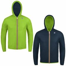 K-WAY K WAY JACQUES PLUS DOUBLE FLUO Giubbotto Cappuccio Impermeabile Verde Blu