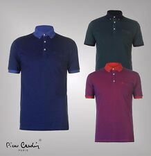 Mens Branded Pierre Cardin Short Sleeves Mix Collar Polo Shirt Top