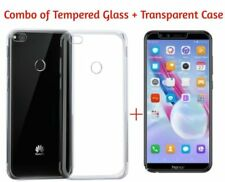 Honor 9 Lite Back Cover Transparent Soft Silicon Case & Tempered Glass