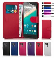 Book Wallet Synthetic PU Leather Flip Case Cover Card Slot - Google Nexus 5X