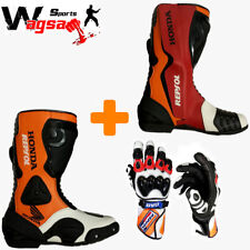 Honda Repsol Motorbike Racing Boots Leather MotoGP Biker's Shoes With Gloves