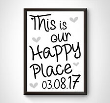 PERSONALISED Happy Place Print - Wall Word Art Gift Housewarming New Home Moving