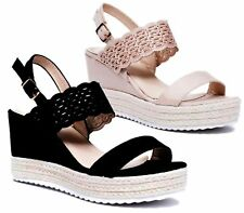 LADIES WEDGE PLATFORM CUT OUT BAND FAUX SUEDE PEEP TOE ESPADRILLES SANDALS SHOES