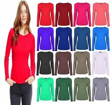 Womens Ladies Plain Basic Long Sleeve Round Neck Top Ladies Casual T shirt Tees