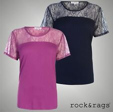 Ladies Rock And Rags Lightweight Floral Short Sleeved Lace Crew Top Size 8-22