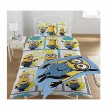 Kids Minions Print Pillow Duvet Cover Single Bed Set With Free Fleece Blanket