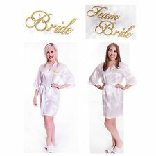 Wedding Silk Kimono Dressing Gown Robe Team Bride To Be Adult White Gold