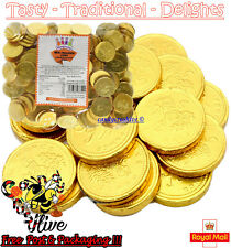 1 - 500 LARGE MILK CHOCOLATE GOLD FOILED MONEY COINS - PARTY BAG FILLER CHEAP