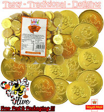 1 - 500 LARGE MILK CHOCOLATE GOLD FOILED PIRATE COINS - PARTY BAG FILLER CHEAP