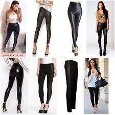 Women Ladies High Waisted PVC Leather Wet Look Leggings Pants Trousers Plus Size