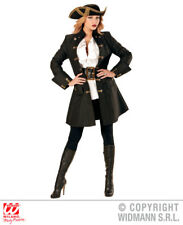Womens Ladies Deluxe Medieval Coat Pirate Fancy Dress Costume Outfit Adult