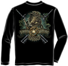 Marine Corps, USMC Long Sleeve Devil Dog First In Marine Black