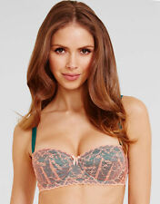 Mimi Holliday by Damaris Twister Padded Balcony Bra Green Peach NEW