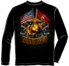Marine Corps, USMC Long Sleeve Double Flag Gold Globe Marine Corps Black