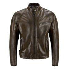 Belstaff Official Supreme Leather Motorcycle Motorbike Jacket Brown Hand Waxed