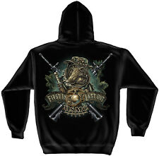 Marine Corps, USMC Hooded Sweat Shirt Marine Devil Dog First In Last Out Black