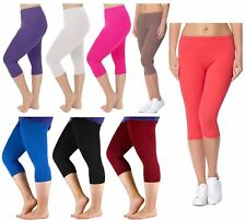 Womens Plus Size Stretchy Plain 3/4 Under Knee Crop Capri Leggings Pants 12-30