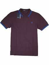 Fred Perry Polo Shirt Poloshirt M3600 F25 Brombeer / Blau Piquee #7340