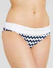 South Beach Daphne Fold Waist Bikini Brief Blue White Navy Chevron Size 16 NEW