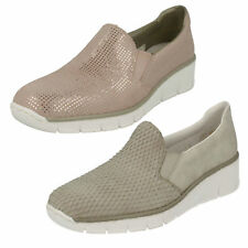 Rieker da donna slip on gherone Elastico Mocassini casual Scarpe basse in pelle