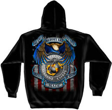 Marine Corps, USMC Hooded Sweat Shirt Usmc True Hero Marines Black