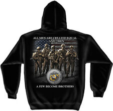 Marine Corps, USMC Hooded Sweat Shirt Usmc Brotherhood Black