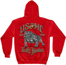 Marine Corps, USMC Hooded Sweat Shirt Usmc Teufel Hunden Red