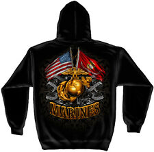 Marine Corps, USMC Hooded Sweat Shirt Double Flag Gold Globe Foil Stamp Black
