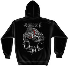 Marine Corps, USMC Hooded Sweat Shirt Chrome Dog Semper Fi Black