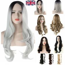 UK Fashion Party Wig Long Natural Curly Straight Wavy Ladies Synthetic Hair Wigs