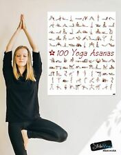 100 Yoga Poses Asanas Poster. Instructional Graphic Poster for Yoga Studio or Ho