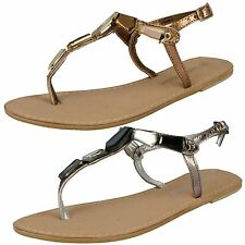 Mujer Leather Collection f0897 BRONCE O Peltre Sandalias de cuero