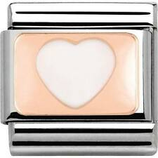 Nomination Italy Nominations Rose Gold Plate White Heart Charm