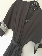 M&S ROSIE FOR AUTOGRAPH SIZE 6 SATIN & LACE GREY DRESSING GOWN ROBE FREE POST