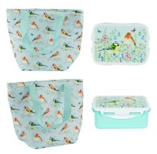 Blue Lunch Bag Tote Box Set Insulated Thermal Cool Tupperware Floral Birds