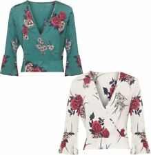 Womens Floral Print Wrap Over Top Ladies Plunge V Neck Long Sleeve Slinky Top