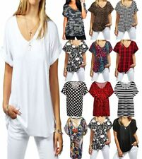 Womens Printed Batwing Turn up Sleeve Top Ladies V Neck Oversize Baggy Top Shirt