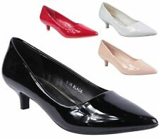 LADIES POINTED LOW HEEL FAUX  PATENT SMART WORK PARTY COURT SHOES PUMPS SIZE 3-8
