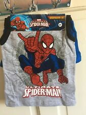 BNWT Marvel - Spiderman Vest & Boxers Set. Boys. Age 4 - 10 Years. Grey/ Blue