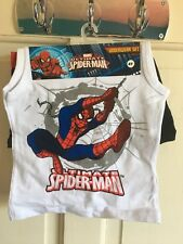 BNWT Marvel - Spiderman Vest & Boxers Set. Boys. Age 4 - 10 Years. White/ Black
