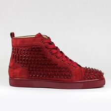 100% Authentic New Christian Louboutin Louis Flat Spikes Suede Carmin Sneaker
