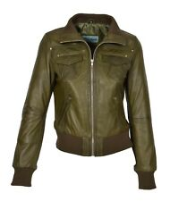 Ladies Bomber Real Leather Jacket Short Slim Fit Casual Blouson Olive Green