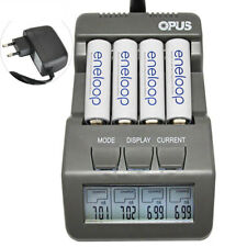 Opus BT-C700 4 Slot Intelligente AA AAA Battery Charger con schermo LCD Spina