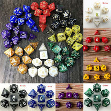 7 Dice Set TRPG For DND Multi Sided D4-D20 Acrylic Transparent 6 Colors Ran QY