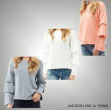 Ladies Jacqueline De Yong Stylish Ruffle Sleeve Sweatshirt Top Size UK 8-14