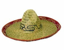 Mens Sombrero Embroidered Straw Mexican Hat Boys Fancy Dress Costume Accessory