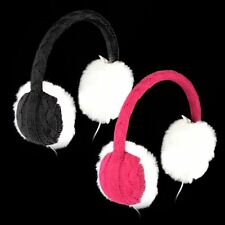 Knitted Fur Earmuffs Headphones Winter Audio Headband Ear Warmer Ladies Girls